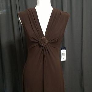 Chaps Sleeveless Dress - Espresso